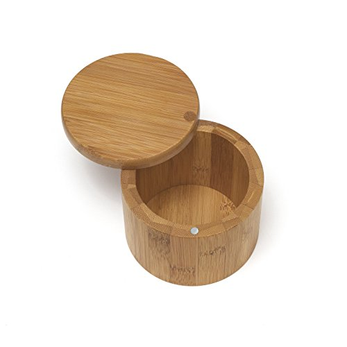 Lipper International 8829 Bamboo Wood Salt or Spice Box with Swivel Cover, 3-1/2' x 2-3/4'