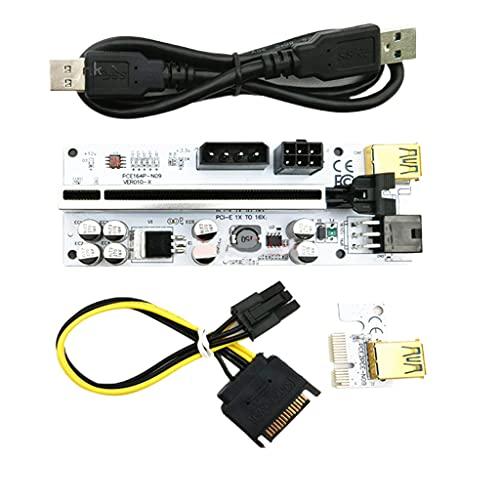 chaoxiner PCI-E 1X a 16X Tarjeta elevadora, tarjeta adaptador de GPU Riser con cable de extensión USB 3.0 de 0.6 m, interfaz 6PIN/4PIN/SATA, para Bitcoin Crypto Mining Ethereum Mining ETH (VER010-X)