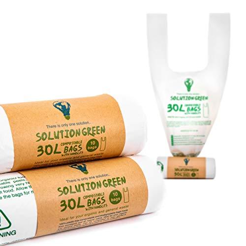 Solution Green | 30x Sacchetti 30 Litri Biodegradabili con Maniglie per Pattumiera Umido da Cucina | Compostabili e Organici per Rifiuti Organici e Rifiuti Generali, Antistrappo e Tenuta