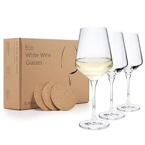 BeEco - Copas de vino blanco con platos de corcho | Juego...