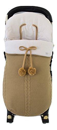 Sac de poussette universel d'hiver en tricot de laine et coton de rayures. Modèle Sophie. Camel/Camel