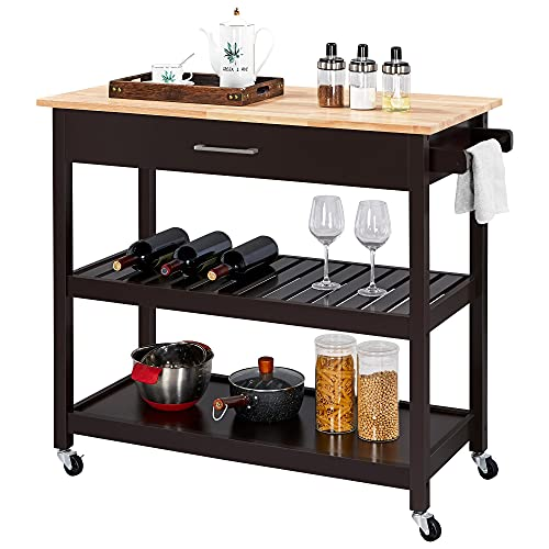 Yaheetech Kitchen Island on Wheels, 3 Tier Rolling Microwave Oven Cart Serving Cart with Storage Drawer and Shelves 40'' W Wood Top, Espresso