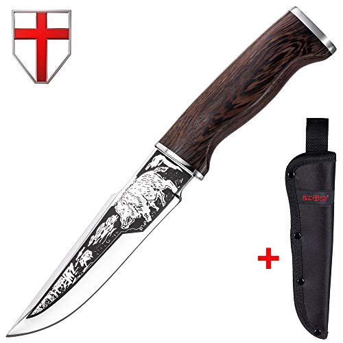 Hunting Knife - Survival Knives with Sheath - Engraved Fixed Blade Knife - Hunter Bushcraft Bowie Knofe - Classic Long Blade Knifes with Wood Handle for Men - Best for Hunting Camping Defense 2428