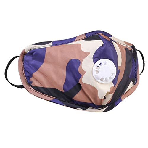 Reusable Filter Outdoor Masks with Respirator Valve Washable Dustmask Camouflage Outdoor Sports Masks Unisex Adult Breathable Face Masks for Pollen Allergy, Running, Cycling (1, Purple)