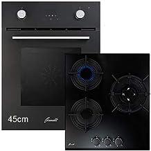 Frenelli FEA 45 Sonata BK y PGA 45 Fiero BK - Juego de cocina (45 cm, montaje multifunción, horno con placa de gas, cristal negro, clase de eficiencia energética: A), color negro