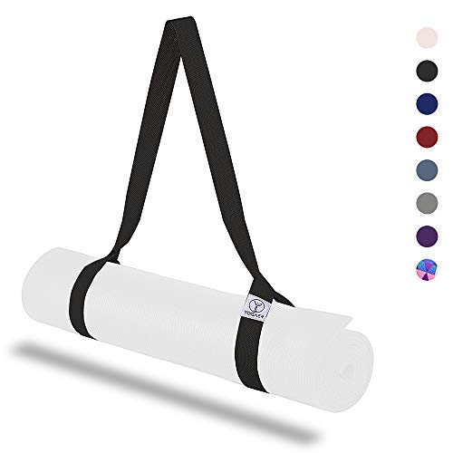 Yoga Mat Strap, Adjustable Sling Carrier and Yoga Mat Straps for Carrying, Doubles Holder As Yoga Strap for Stretching, Durable Cotton Straps Set Mats (Mat Not Included)