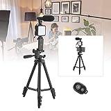 Gind Kit de micrófono de trípode con luz de Relleno, micrófono de Video con luz LED, portátil para Interiores y Exteriores para grabación de Video en Vivo
