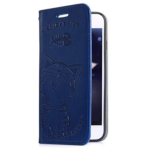 Uposao Housse de téléphone iPhone X/XS Coque Pochette Portefeuille en Cuir Coque, Relief Etui Housse PU Premium Flip Cover Case Coque à Rabat Clapet 3D Effet Chat Motif Coque pour iPhone X/XS,Bleu