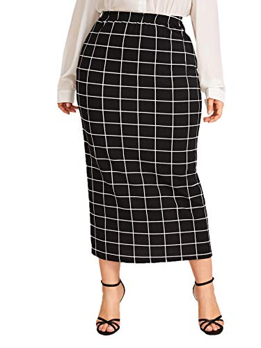 Verdusa Women's Plus Size Plaid Print Elastic Waist Bodycon Midi Skirt Black 3XL