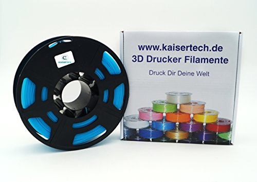 Kaisertech Filament für 3D Drucker 1kg PLA/ABS 1.75mm/3mm - Premium Qualität & verschiedene Farben für MakerBot RepRap MakerGear Ultimaker uvm. (PLA 1.75mm, Hellblau)