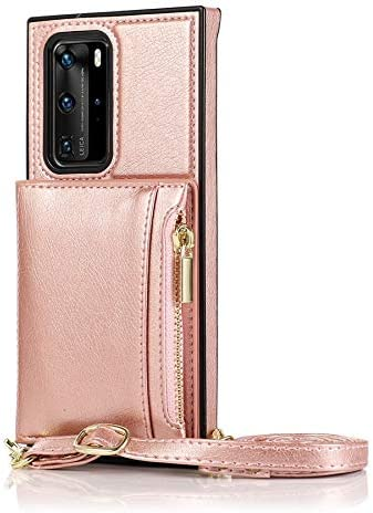 SLDiann Case for Huawei P40, Zipper Wallet Case with Credit Card Holder/Crossbody Long Lanyard, Shockproof Leather TPU Case Cover for Huawei P40 (Color : Rosegold)