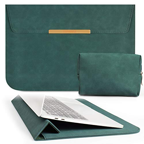 TOWOOZ 13.3 Inch Laptop Sleeve Case Compatible with 2016-2020 MacBook Air / MacBook Pro 13-13.3 inch / iPad Pro 12.9 / Dell XPS 13/ Surface Pro X , Faux Suede Bag (13-13.3, Dark Green)