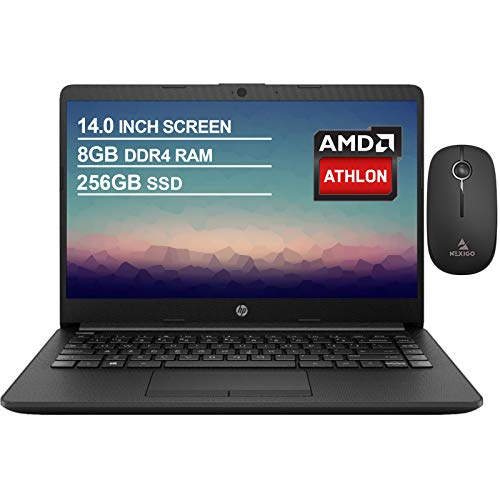 2020 Newest HP 14 Inch Non-Touch Premium Laptop, AMD Athlon Silver 3050U up to 3.2 GHz, 8GB DDR4 RAM, 256GB SSD, WiFi, HDMI, Windows 10 in S, Jet Black + NexiGo Wireless Mouse Bundle