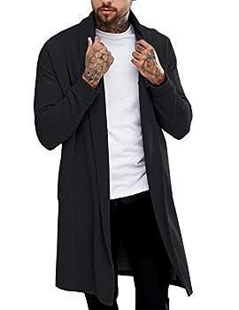 Pacinoble Men s Casual Cardigan Long Sleeve Lightweight Open Front Cotton Long Length Cardigan Black