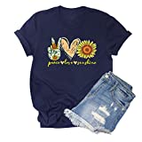 HDLTE Peace Love Sunflower Print T Shirt Women Funny Graphic Victory Heart Flower Sunshine Tops(Dark Blue,M)