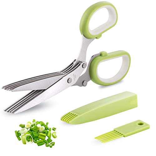 Herb Scissors, McoMce Herb Scissors with 5 Blades and Cover, Multipurpose Cutting Herb Stripper, Kitchen Shears Dishwasher Safe, Kitchen Scissors for Cutting Salad, Vegetables, Basil, Parsley, Green
