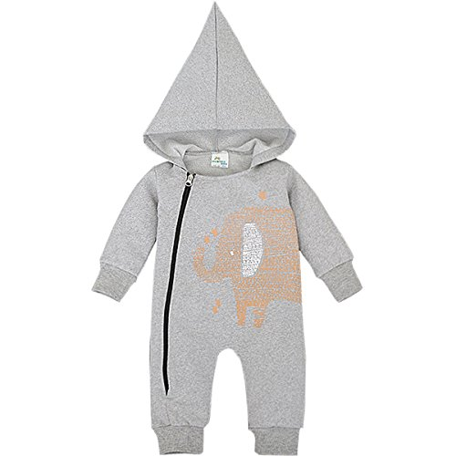 Bebone Baby Strampler Jungen Mädchen Overall Babykleidung (9-12 Monate/95, Grau)