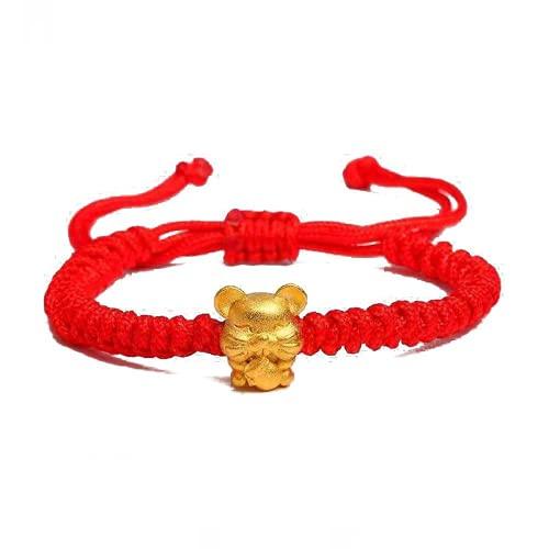 XIGAWAY 1 pieza de Año Nuevo Mascota Cinco Fortunes Oro Ratón Rojo Pulsera Atraer la Riqueza Suerte Unisex, Tela,