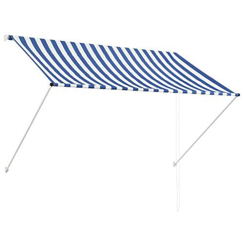 vidaXL Markise 200x150cm Blau Weiß Sonnenschutz Beschattung Windschutz Garten
