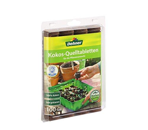 Dehner Kokos-Quelltabletten, mit Nährstoff-Mix, zur Anzucht von Stecklingen, Sämlingen und Saaten, Ø 38 mm, 100 Stück