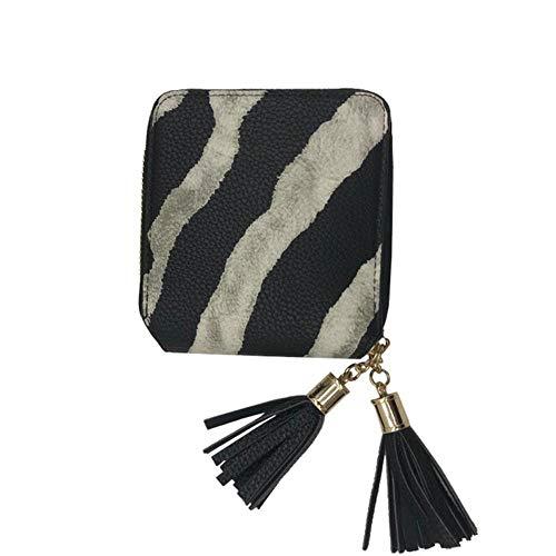 Europa en Amerika Stijl Vrouwen Korte Portemonnee Vrouwelijke Rits portemonnee Mode Zebra Portemonnee Kwastjes Tas Dames Muntportemonnee Card Pakket 2020