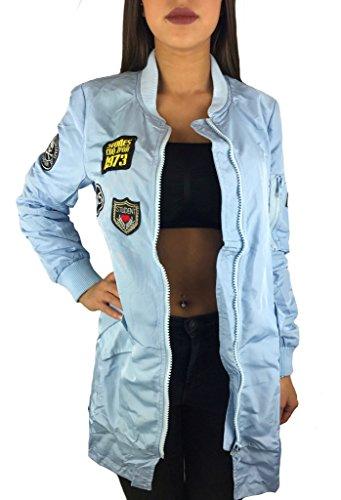Worldclassca Damen Bomber Jacke MIT Army Patches ÜBERGANGSJACKE Piloten Jacke LANG PARKAFLIEGERJACKE Blogger NEU MIT REIßVERSCHLUSS SCHWARZ BLAU Clubwear (S, Baby Blau)