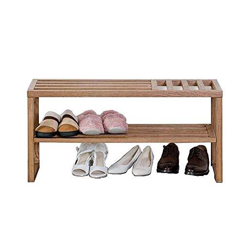 Axdwfd hardhout 2-laags schoenenrek opslagrek, geschikt voor deur, slaapkamer, woonkamer, 90 x 32,6 x 43 cm (natuurlijke kleur)