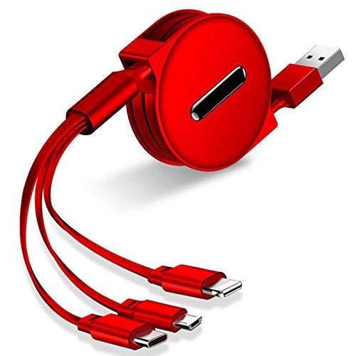 Cable de carga múltiple, 1,2 m, ajustable 3 en 1, cable con micro USB tipo C cargador múltiple conector para Android Samsung, Nokia, LG, Kindle