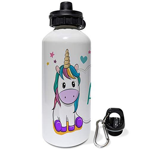LolaPix Botella Infantil Personalizada con Nombre. Regalos Infantiles Personalizados. Botella Aluminio Personalizada. Unicornio