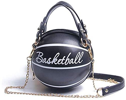 Koitniecer Damen Basketball geformte Schulter Umhängetasche PU Leder Geldbörse Tote Mini Umhängetasche Handtasche (Schwarz-A)