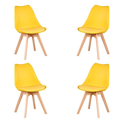 KunstDesign Nordic Chair (Pack 4) - Silla escandinava Amarillo - Mona - (Elija su color)