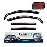 CLIM ART in-Channel Incredibly Durable Rain Guards for Jeep Cherokee 2014-2021, Original Window Deflectors, Vent Deflector, Vent Window Visors, Dark Smoke Car Accessories, 4 pcs - 614031LP