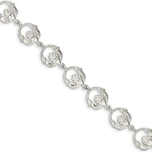 Diamond2Deal Claddagh-Armband für Damen, 925er Sterlingsilber, 17,8 cm