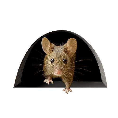 errcom 5 Stück Maus-Aufkleber, Maus-Loch-Aufkleber für Wand, Tür, Fenster, 4 x 3.2 Zoll Schwarz für Wände, Auto, Stoßstange, Fenster, Kitchen