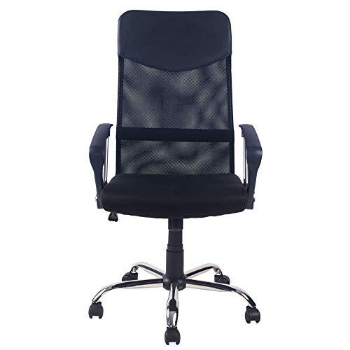 FORTOO Office Task bureaustoel met benen Executive Home bureaustoel met Lumbar ondersteuning, verstelbare hoogte draaibare taakstoel hoge rug Computer Mesh stoel zwart