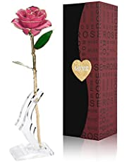 Gomyhom 24Kゴールドローズ バラ 造花 薔薇 枯れない花 お花 フラワー 彼女 プレゼント 雰囲気作り インテリア飾り バレンタインデー デート 母の日 結婚記念日 誕生日 ベストギフト