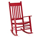 Giantex Solid Wood Rocking Chair Porch Rocker Indoor Outdoor Deck Patio Backyard Rocking Chairs