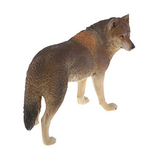 F Fityle Wild Tierfiguren Tiermodell Wildtier Gartenfigur Gartendeko mit Wolf Figur, aus Plastik - Braun