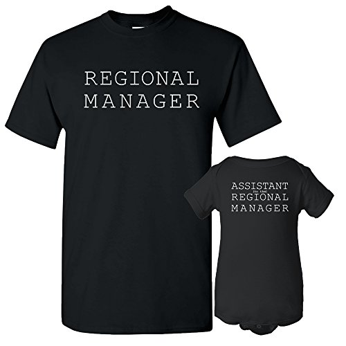 UGP Campus Apparel Regional Manager, Assistant Regional Manager - Funny Joke Adult T Shirt & Infant Creeper Bundle - Black - Adult L / 6 Months