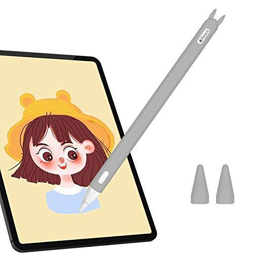 Hydream Funda de Silicona para Apple Pencil 2ª Generación, Funda Ultra Delgada Protectora Case Cover Antideslizante Accesorios para iPad Pencil, con 2 Cubiertas de Punta Protectora (Gris)