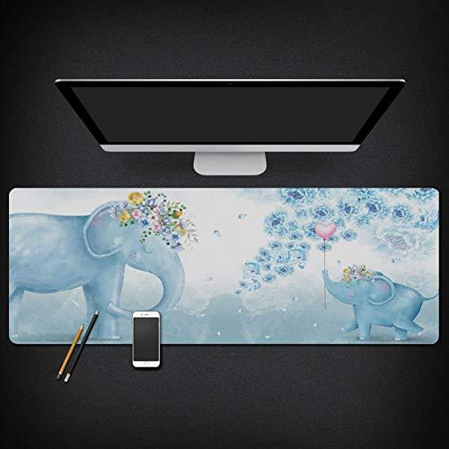 Muiskussen, creatief eenvoudig blauw olifant dier hart ballon extra groot waterdicht gevoerde muis pad toetsenbord pad meubilair kantoor student tafel mat gift 40x90cm