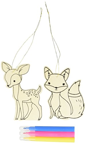 Darice 30023955 Deer and Fox Color - in Ornaments: Wood, Unfinished/Natural