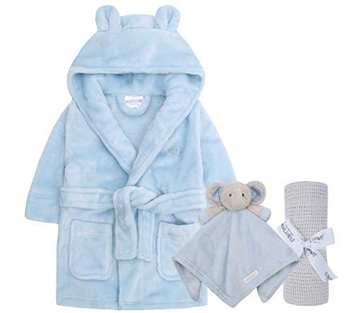Lora Dora Baby-Bademantel + Decke + Kuscheldecke, Geschenkset für Jungen und Mädchen Gr. 12-18 Monate, Blau/Grau/Blau