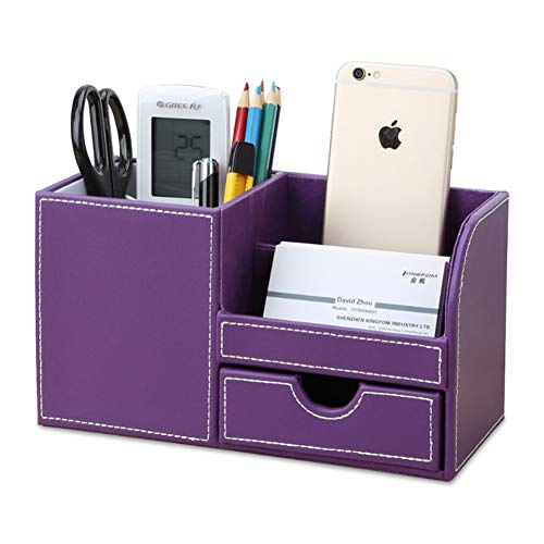 KINGFOM Wooden Struction Leather Multi-Function Desk Stationery Organizer Storage Box Pen/Pencil,Cell Phone, Business Name Cards Remote Control Holder with Small Drawer Purple