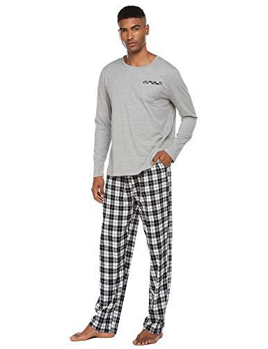 Schlafanzug Herren Lang Pyjama Nachtwäsche Schlafhose Oberteile Schlafshirt mit Taschen für Männer Herbst Winter Zuhause