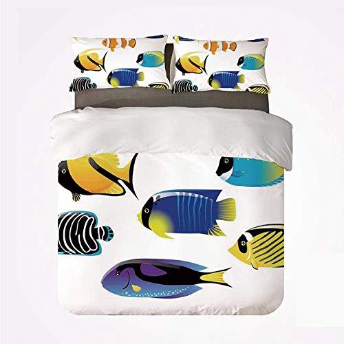 Qoqon Duvet Cover Set Ocean Animal Decor Warm 3 Bedding Set,Types of Sea Creature with Atlantic Cod Bonito Palette Surgeonfish Image for Room