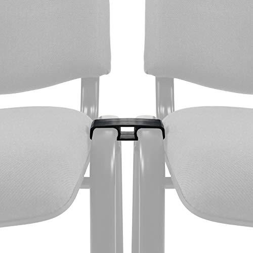 hjh OFFICE 704099 Élément de liaison Connect en plastique noir clips pour chaises visiteur, lot de 10