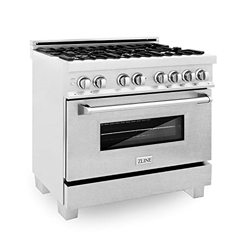 ZLINE 36' 4.6 cu. ft. Dual Fuel Range with Gas Stove and Electric Oven in DuraSnow with Color...