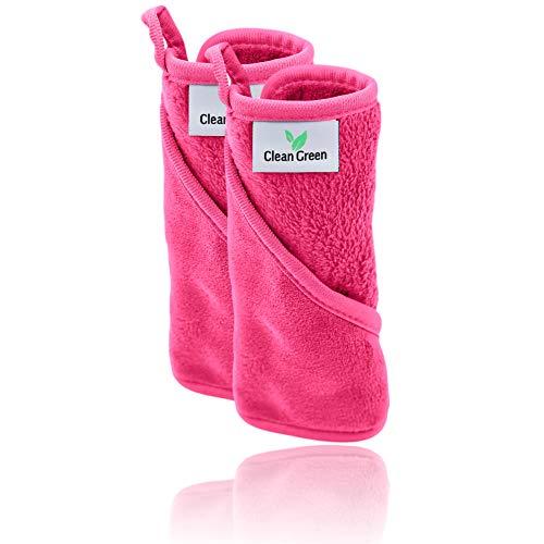 Clean Green Mikrofaser Abschminktücher waschbar (2 Stück   Pink) - Hypoallergenes Make Up Entferner Tuch - Die umweltfreundliche Microfaser Abschminktücher Alternative