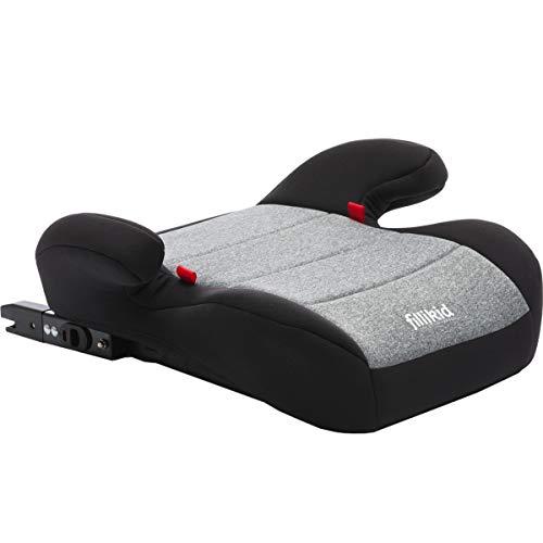FILLIKID Sitzerhöhung mit ISOFIX Befestigungssystem Kinder Auto Sitz (Gruppe 3) ECE R44/04 (GRAU/SCHWARZ)